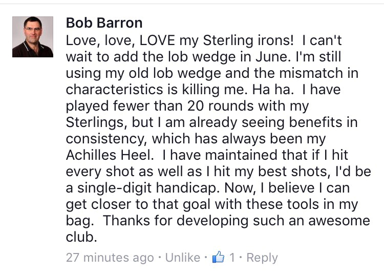 Bob Barron, Sterling irons benefits