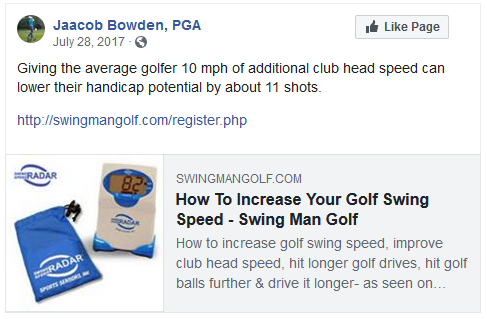 Giving the average golfer 10 mph of additional club head speed can lower their handicap potential by about 11 shots