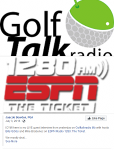 ICYMI here is my LIVE guest interview from yesterday on Golftalkradio Mb with hosts Billy Gibbs and Mike Brabenec on ESPN Radio 1280: The Ticket.