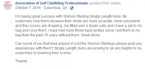 I'm having great success with Wishon Sterling Single Length Irons