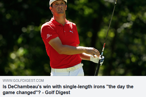 "Is DeChambeau's win with single-length irons ""the day the game changed""?"