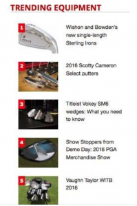 Fantastic to see that Tom Wishon Golf Technology and Jaacob Bowden's Sterling Irons are the #1 trending equipment story on GolfWRX.com!